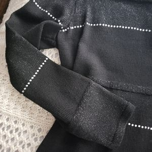 Steve Fabrikant Sweaters - VNTG 80's STEVE FABRIKANT BLK EMBELLISHED SWEATER